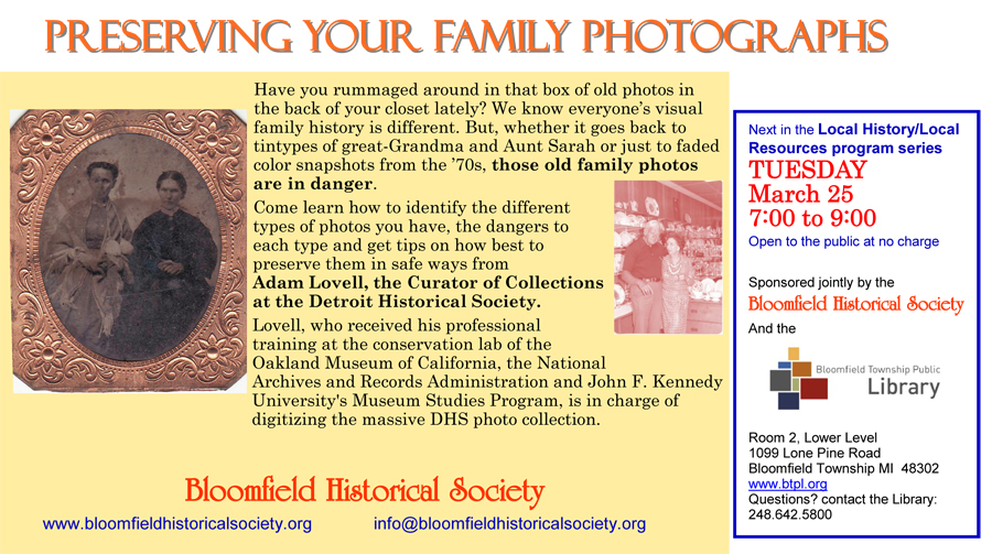 March 25 2014 flyer -  Preserving Your Family Photographs w-Adam